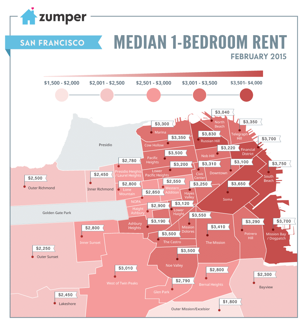 For Rent Map: San Francisco Rent Prices Continue Rapid Rise Through February