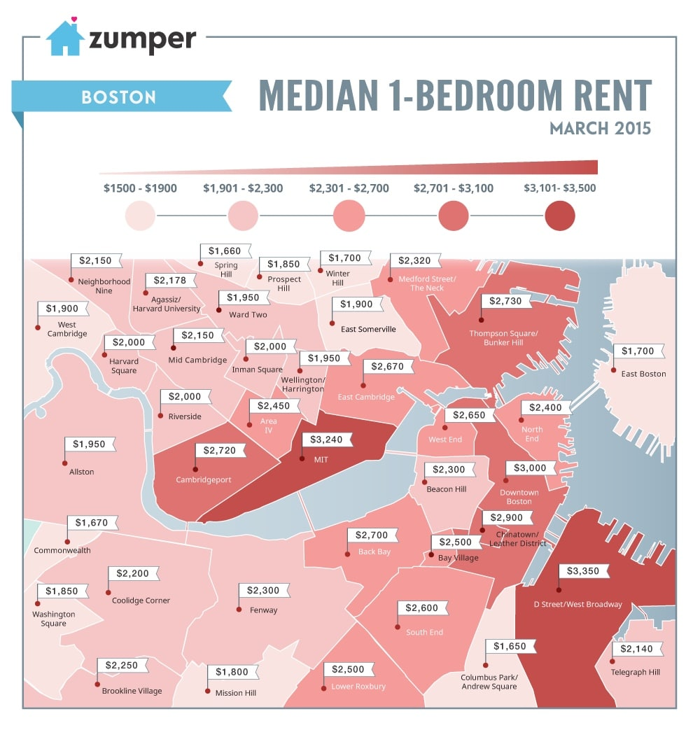 For Rent Map: See How Much Boston Spent On Rent This March