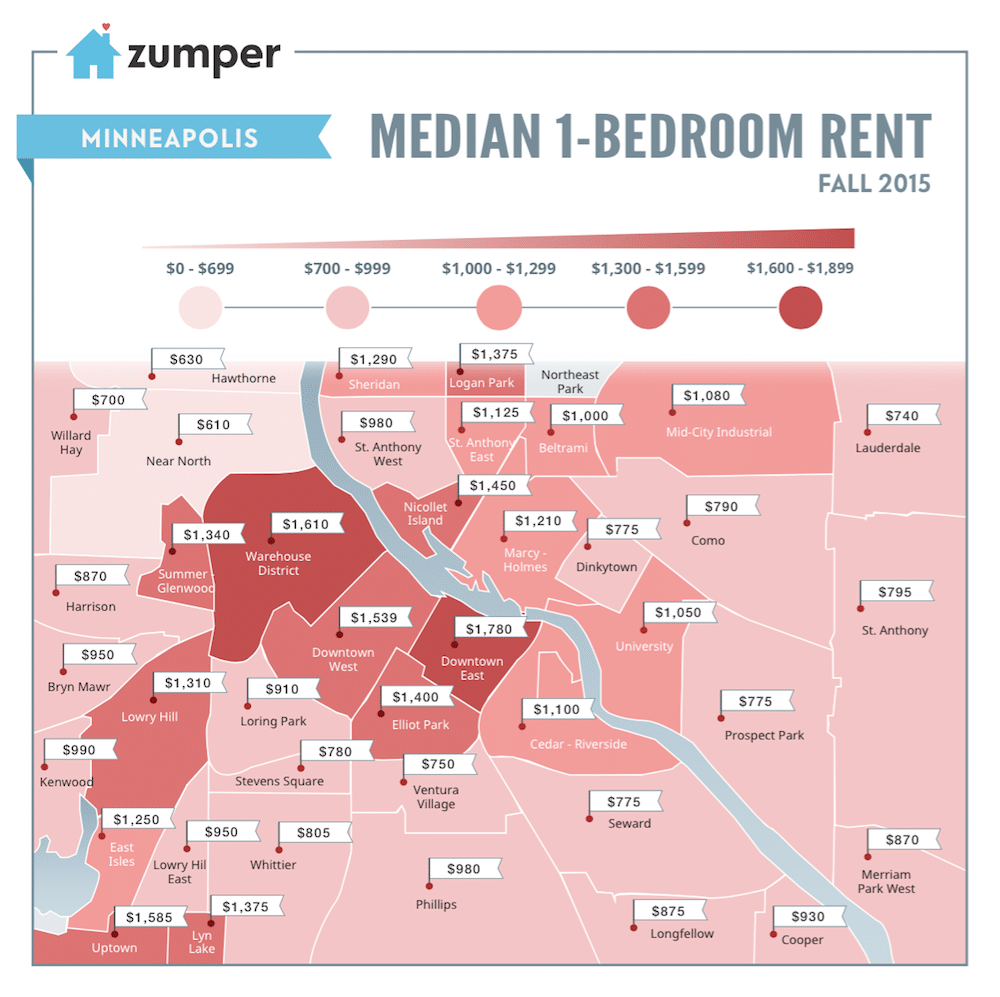 For Rent Map: The Cheapest And Most Expensive Minneapolis Neighborhoods