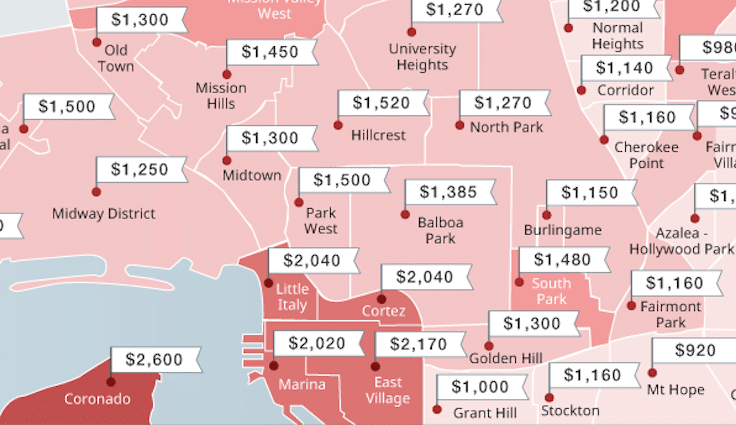 the cheapest and most expensive san diego neighborhoods to rent this