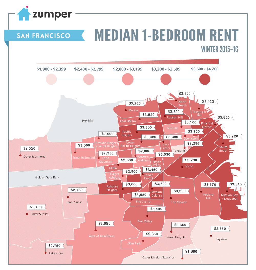 2 Bedroom Apartments In San Francisco For Rent: Mapping San Francisco's Rent Prices (March 2016