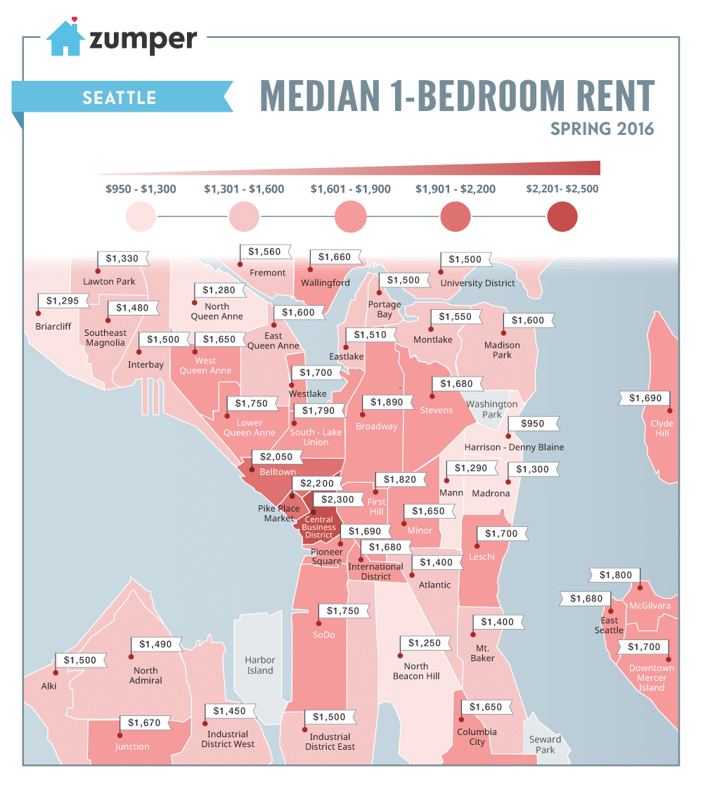 Seattle Apartment Prices Mapping Seattle Rent Prices This Spring 2016  The Zumper Blog