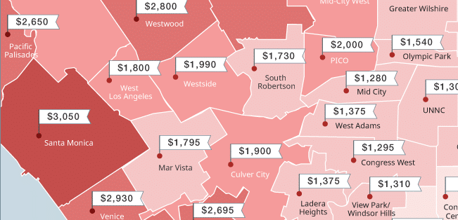 mapping los angeles rent prices this summer june 2016. Black Bedroom Furniture Sets. Home Design Ideas