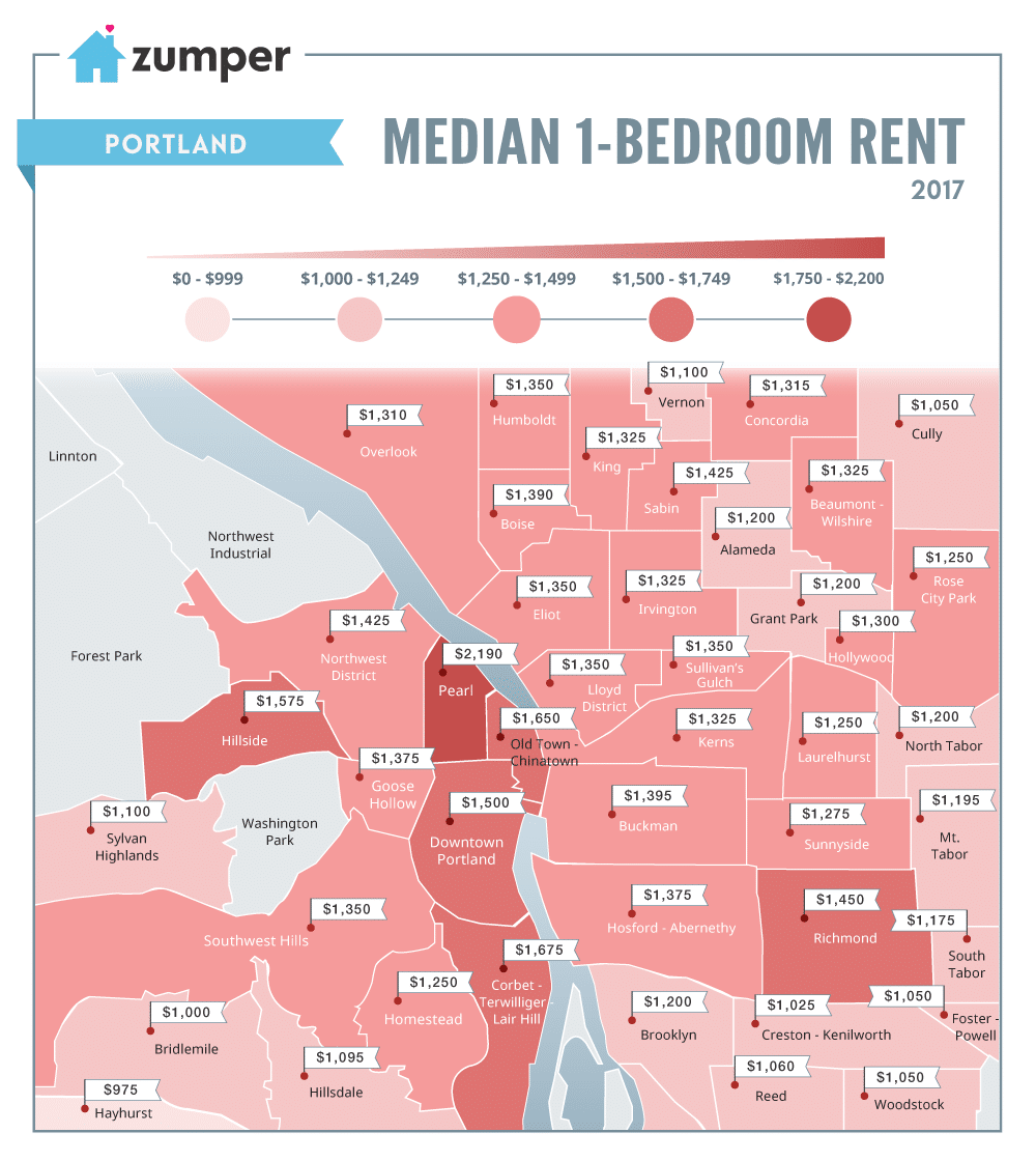 mapping portland rent prices january 2017 the zumper blog portland monthlypricemedianmap winter2017