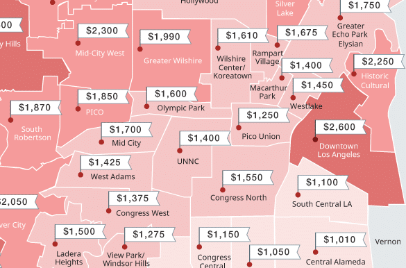 los angeles rent prices mapped this spring march 2017. Black Bedroom Furniture Sets. Home Design Ideas