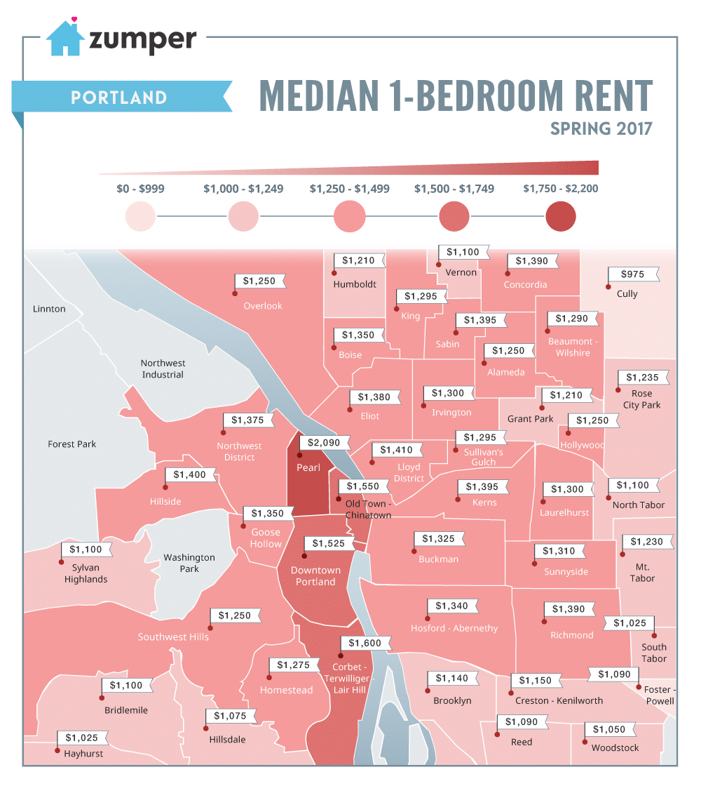 portland rent prices mapped this spring 2017. Black Bedroom Furniture Sets. Home Design Ideas