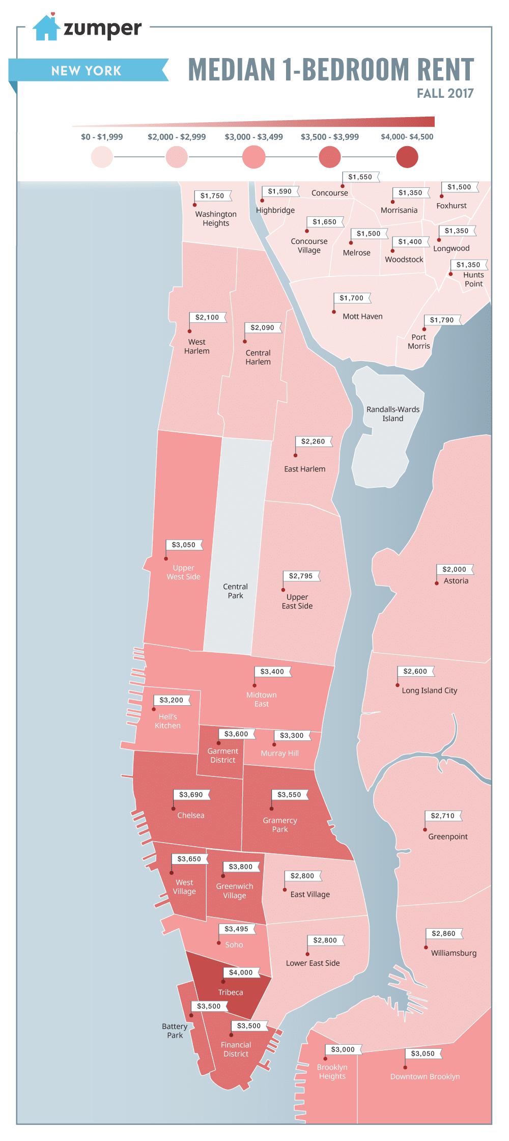 new york city neighborhood rent prices mapped fall 2017