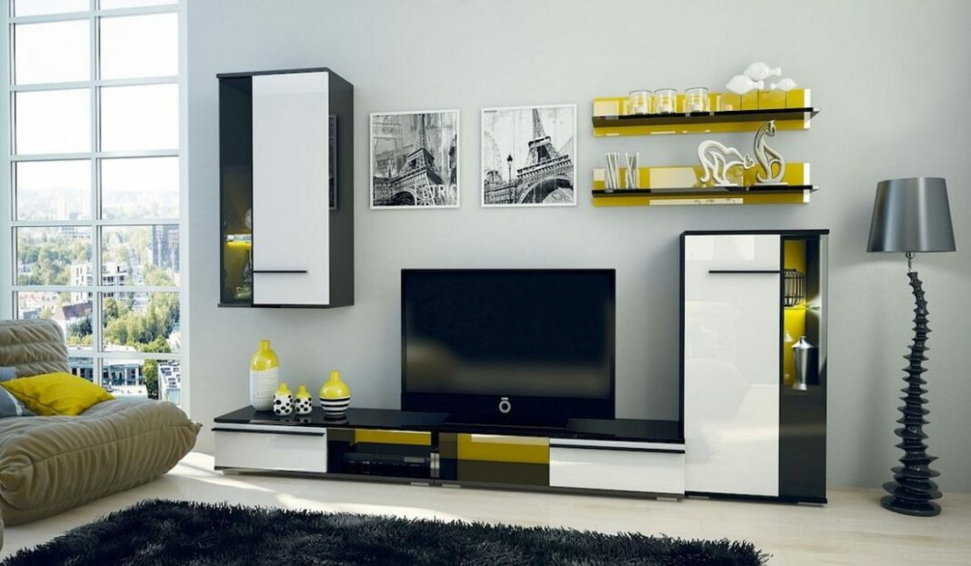 black and yellow apartment interior
