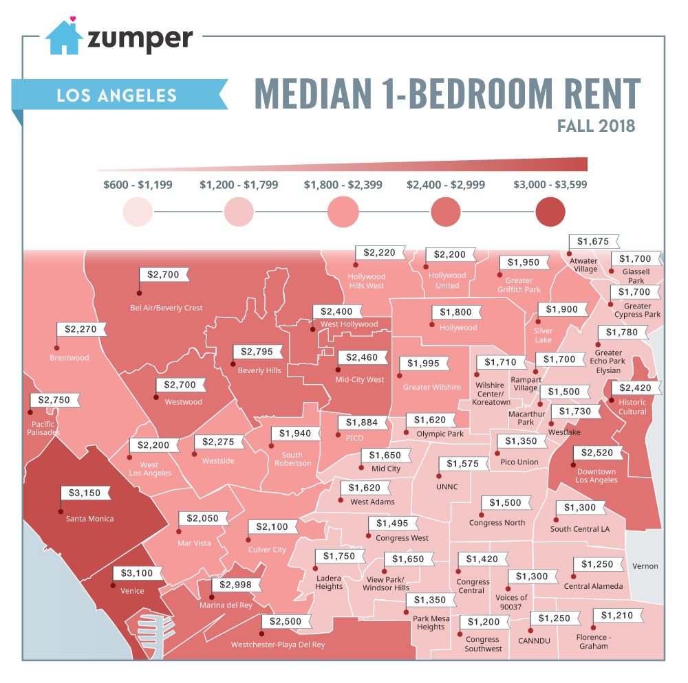 Rent Price Map Map: Los Angeles Neighborhood Rent Prices (Fall 2018)