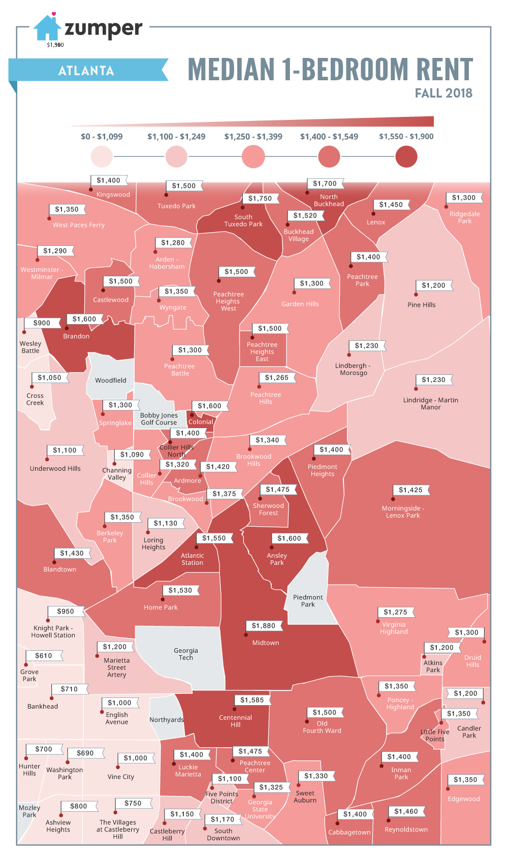 Rent Price Map Mapping Atlanta Neighborhood Rent Prices (Fall 2018)